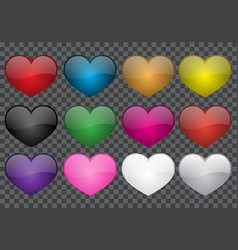 heart colour glossy collection on transparency vector image