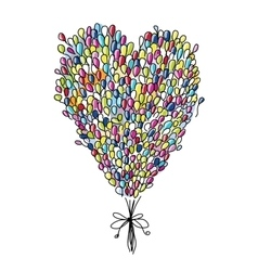 Holiday balloons heart shape for your design vector image