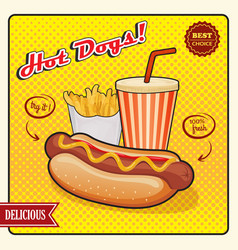 Hot dogs comic style poster vector