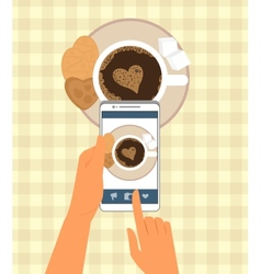 Human is photographing his cup of coffee in vector image