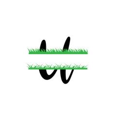Initial u grass monogram split letter isolated vector