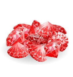 Isolated handful of red rubies vector image