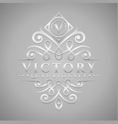 Letter v logo - classic luxurious silver vector