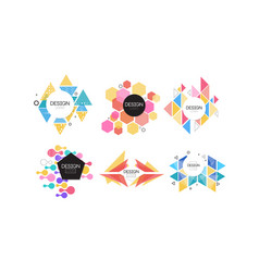 logo design collection abstract colorful badges vector image