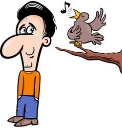 man and bird cartoon vector image