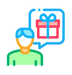 man with gift thought icon outline vector image