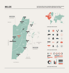 Map belize high detailed country map with vector