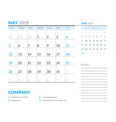 may 2019 week starts on sunday calendar planner vector image