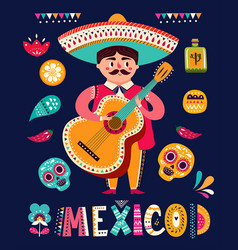 mexican man with guitar vector image