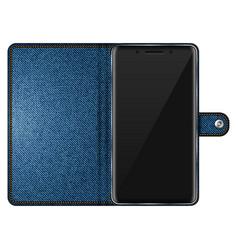Mobile phone in denim case vector