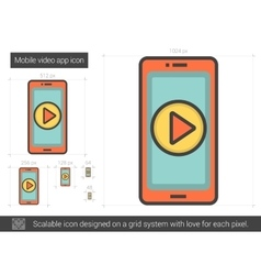 Mobile video app line icon vector
