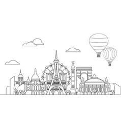 Paris skyline line art 10 vector