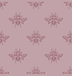 pastel seamless stag beetles pattern background vector image
