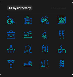 Physiotherapy thin line icons set vector