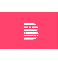 Pink letter b logo alphabet icon with line block vector