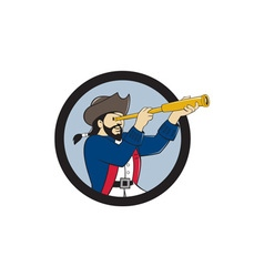 Pirate Looking Spyglass Circle Cartoon vector image