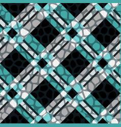plaid tartan seamless with crocodile skin pattern vector image