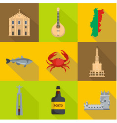 Portugal icons set cartoon style vector