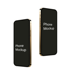 Realistic gold smartphone mockup flying up 3d vector