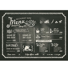 Restaurant menu design on chalkboard background vector