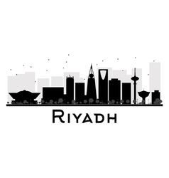 Riyadh City skyline black and white silhouette vector image