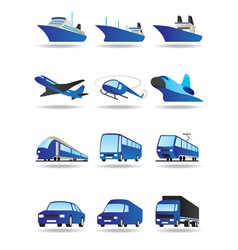 Road sea and space transport icons set vector