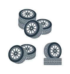Rubber wheel tire rim drive car vector