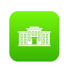 School building icon digital green vector