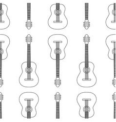 seamless pattern from acoustic guitar icon black vector image