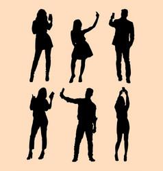 Selfie gesture silhouette vector