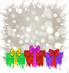 Set Christmas gift boxes on glowing background vector