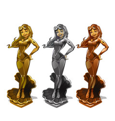 Set of golden silver bronze statuettes for vector