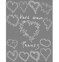 Set of hand drawn leafy heart shaped frameswhite vector