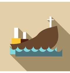 Ship with oil icon flat style vector