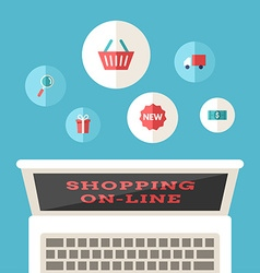 Shopping On-line Flat Design Concept for Web vector