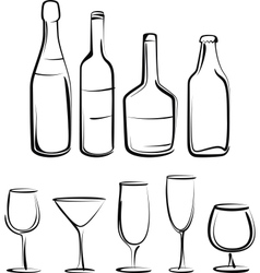 Simple with bottles and glasses set vector image