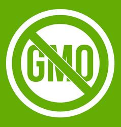 Stop gmo icon green vector