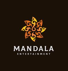 Sun flower gold tribal mandala logo design vector