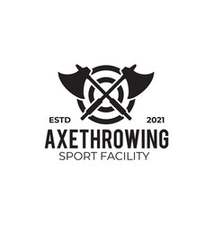 Throwing axe sport logo design template vector