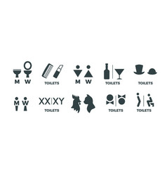 Toilet signs funny wc man and woman direction vector