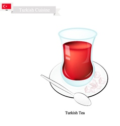 Traditional Black Hot Tea Popular Drink in Turkey vector image