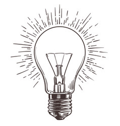vintage light bulb in engraving style hand drawn vector image