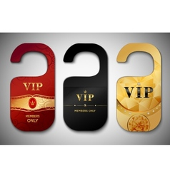 Vip door tags set vector