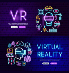 Virtual reality neon website banners vector