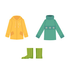 Warm knitted sweater rain coat and rubber boots vector