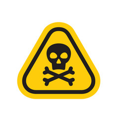 warning dangerous triangle sign human skull vector image