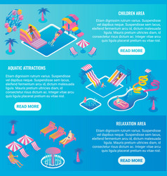 water park flat isometric horizontal banner vector image