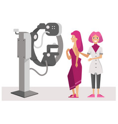 Woman with doctor at magnetic resonance imaging vector