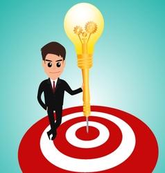Businessman in target area whit dart lightbulb vector image vector image