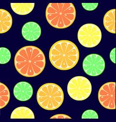 Seamless pattern with slices of orange lemon vector